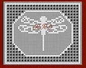 Framed Dragonfly in Filet Crochet