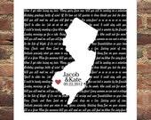 Engagement Gift Song Lyrics Poster Print Map Custom Song Lyrics Art Any Location Any Song Unique Engagement Gift Newly Engaged Gift