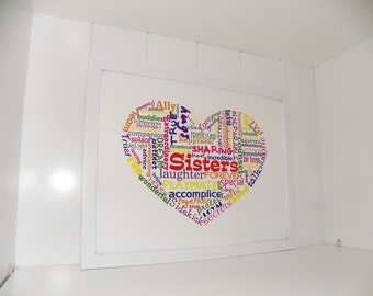 Sisters Love Heart Sisters Art Sisters Print Sisters Poster Typography Word Art Print Childrens Room Art Girls Room