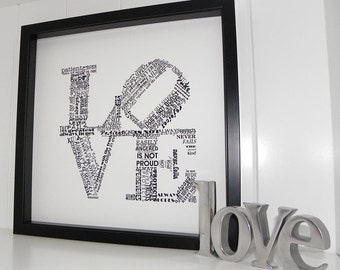 Love Never Fails FRAMED ART Print- 1 Corinthians 13 Wedding Anniversary Engagement Gift