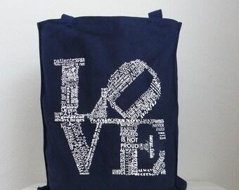 Bridesmaids Gift Bag Canvas Tote SET OF 7 Love Never Fails Canvas Totes Bridesmaids Gift Set Bridesmaids Bags Love Canvas Tote