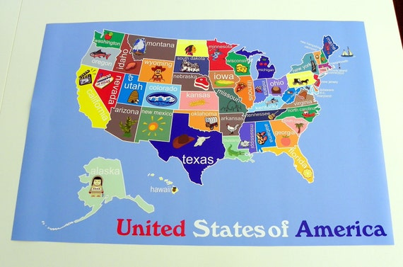 Kids United States Map Childrens Room Decor Childrens Art Classroom Art Childrens Usa Map Playroom Art