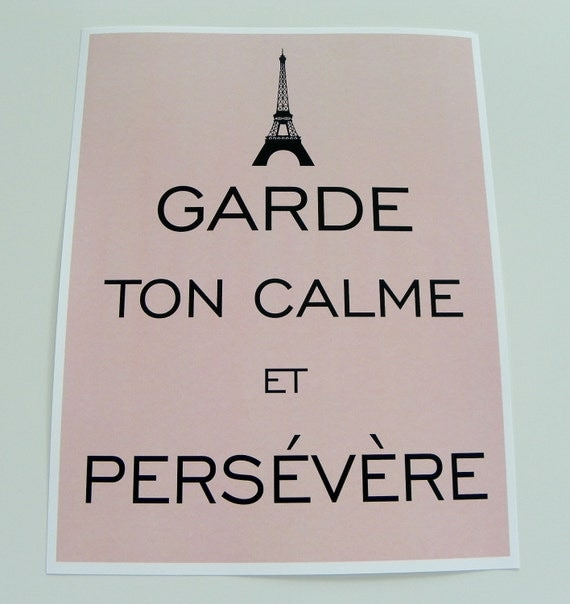Keep Calm and Carry On Eiffel Tower French Print Modern Vintage Inspired Classic Print
