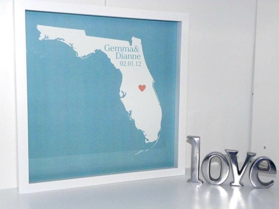Unique Wedding Gift : Wedding Art Personalized FRAMED ART State Map Print - Any Location Worldwide - Unique Wedding Gift Engagement Gift