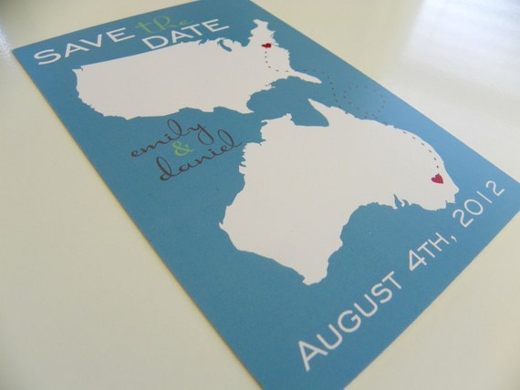 Postcards Save the Date Two State Postcards Set of 48 Destination Wedding Save the Date Cards Long Distance Love Australia Save The Date