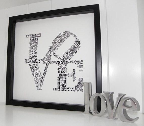 Love Never Fails FRAMED ART Print 1 Corinthians 13 Wedding