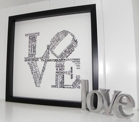 Love Never Fails Print 1 Corinthians 13 Typography Word Art Modern Art Love is Patient Love is Kind