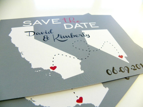 Save the Date Postcards Custom State Wedding Map Save the Dates - Set of 48 - Love Will Find A Way Series