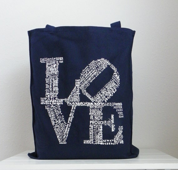 Bridesmaids Gifts Bridemaids Bags SET OF 4  Love Canvas Totes Love Never Failes Tote Gift for Bridesmaids Maid of Honor Gift
