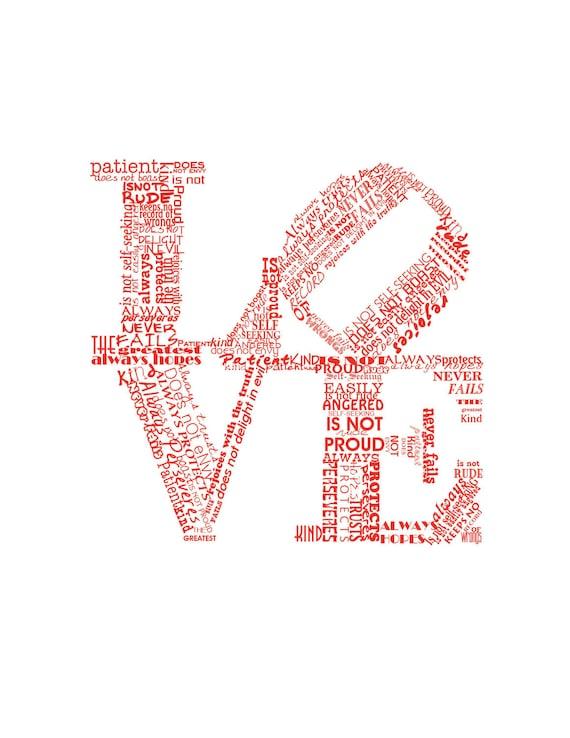 Valentine Print Love Never Fails RED Art Print Valentines Day Gift Valentines Day Gift