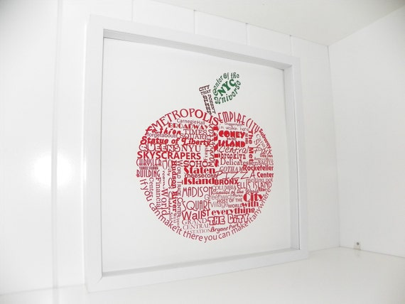 New York The Big Apple Print Typography Art New York City NYC Art Print NYC in Words