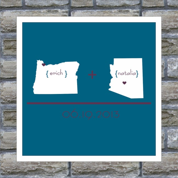 Customized State Map Gift Two State Map Print His Home Her Home Special Date to Remember How We Met