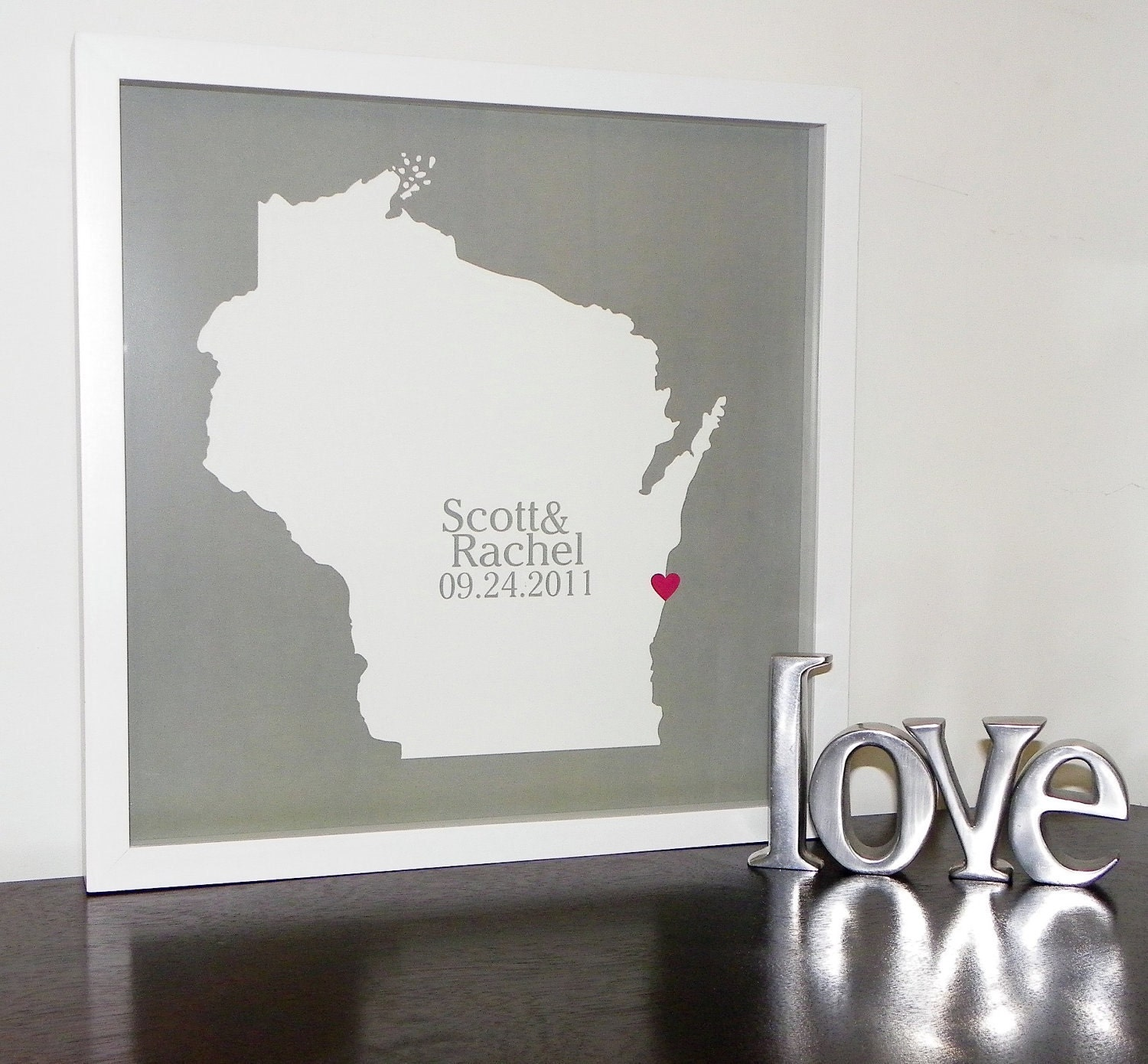 custom wedding gift personalized state map by definedesign11
