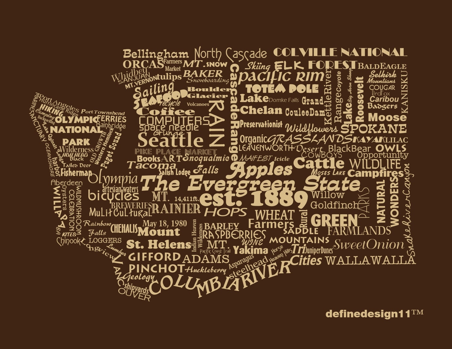 Washington State Print Word Art Typography The Evergreen