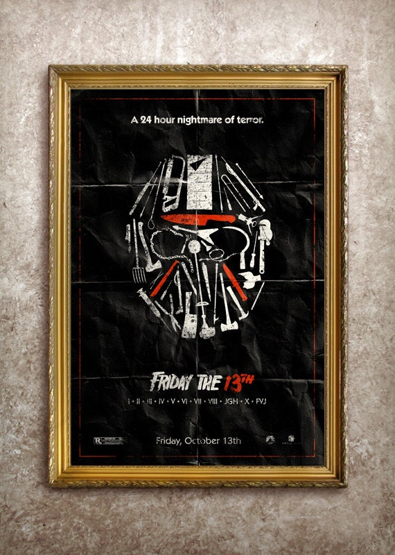friday the 13th 27x40 theatrical size movie poster. Black Bedroom Furniture Sets. Home Design Ideas