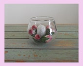 Dollhouse miniature table decoration/centre piece, candles & flowers-shabby,country cottage,farmhouse,