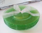 Green Depression Glass Plates Set of Six