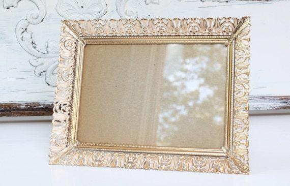 Vintage Gold Metal Filigree Picture Frame