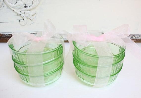 Green Depression Glass Bowls - Set of Six