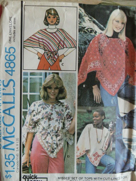 Vintage 1975 McCall's 4865 MOD Hippie Top Poncho Shawl Raglan Sleeves Embroidery  Transfer Pattern All Sizes UNCUT