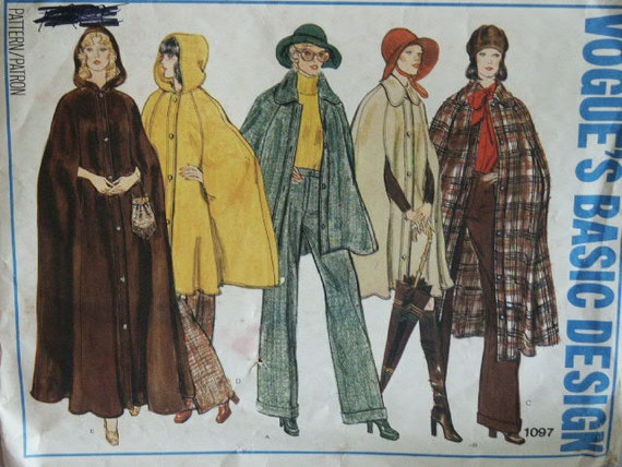 1970s Classic Vintage Vogue Basic Design 1097 3 Lengths Coat Cape Sewing Pattern Size 14