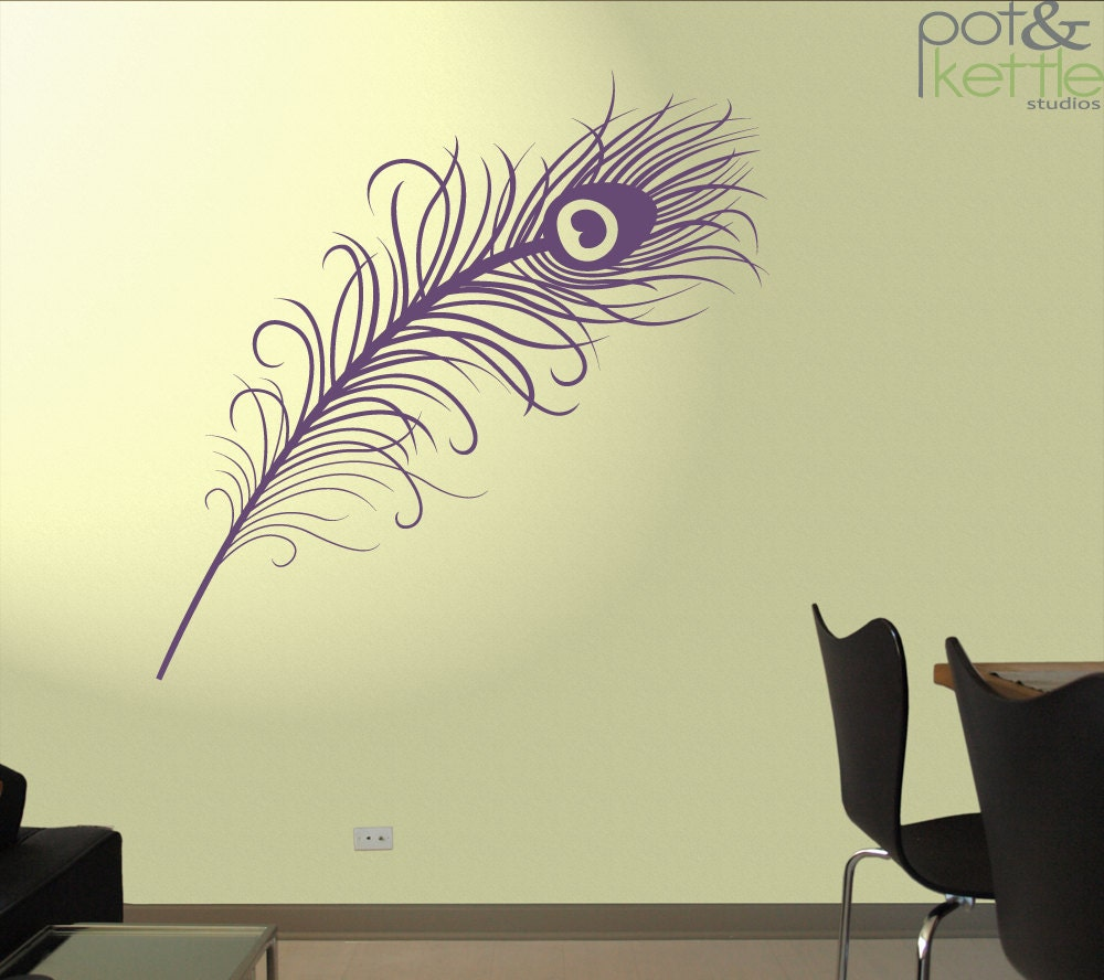 peacock feather vinyl wall decal sticker large. Black Bedroom Furniture Sets. Home Design Ideas