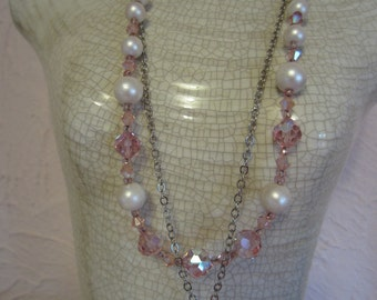 Vintage Recycled Pink Cross Necklace