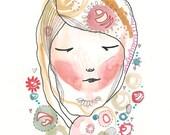 Whimsical Girl Illustration, Original Drawing Painting, 8 x 5, A5, Original Folk Art Girl - My Dream Garden