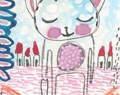 Original ACEO Art Card Mini Painting Drawing - Cute Girl Cat Shopping