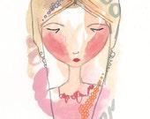 Original Girl Illustration, Whimsical Art, Daydreams