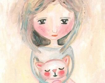 Original Whimsical Cute Girl Acrylic Painting, Hug A Lot