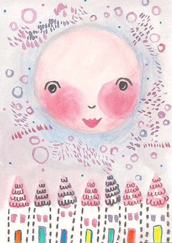 Original Moon ACEO, Painting Illustration, Whimsical, The Moon Who Shined Sun