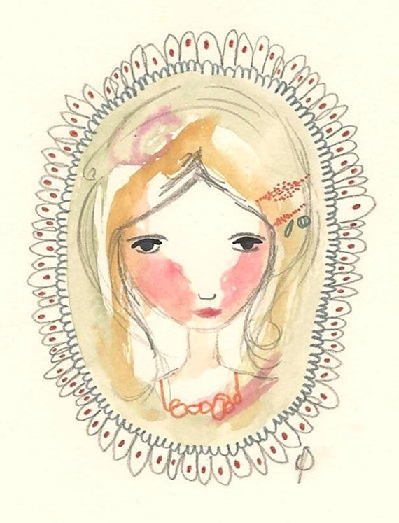 Whimsical Girl Painting, Original Gouache Illustration, Lady Of The Flowers, Mixed Media Folk Art