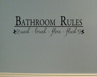 Vinyl lettering Bathroom Rules
