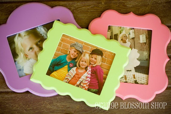 8x10 whimsical and unique picture frame. Pick your style and color