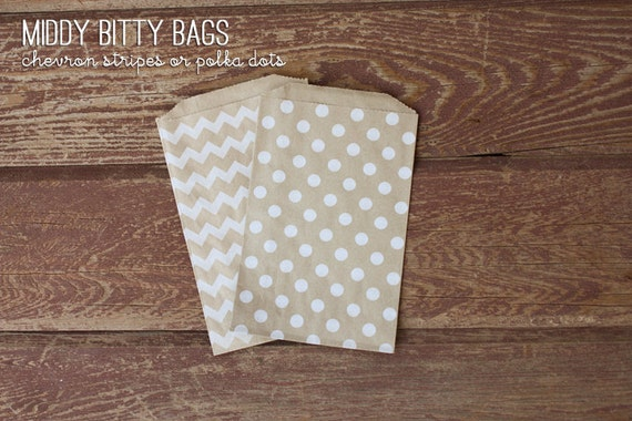 Brown Kraft Paper - Middy Bitty Bags - Chevron Stripe or Polka Dots