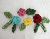 Crochet Rosettes leaves and Curly Q's Embellishment Pattern  Instant Download