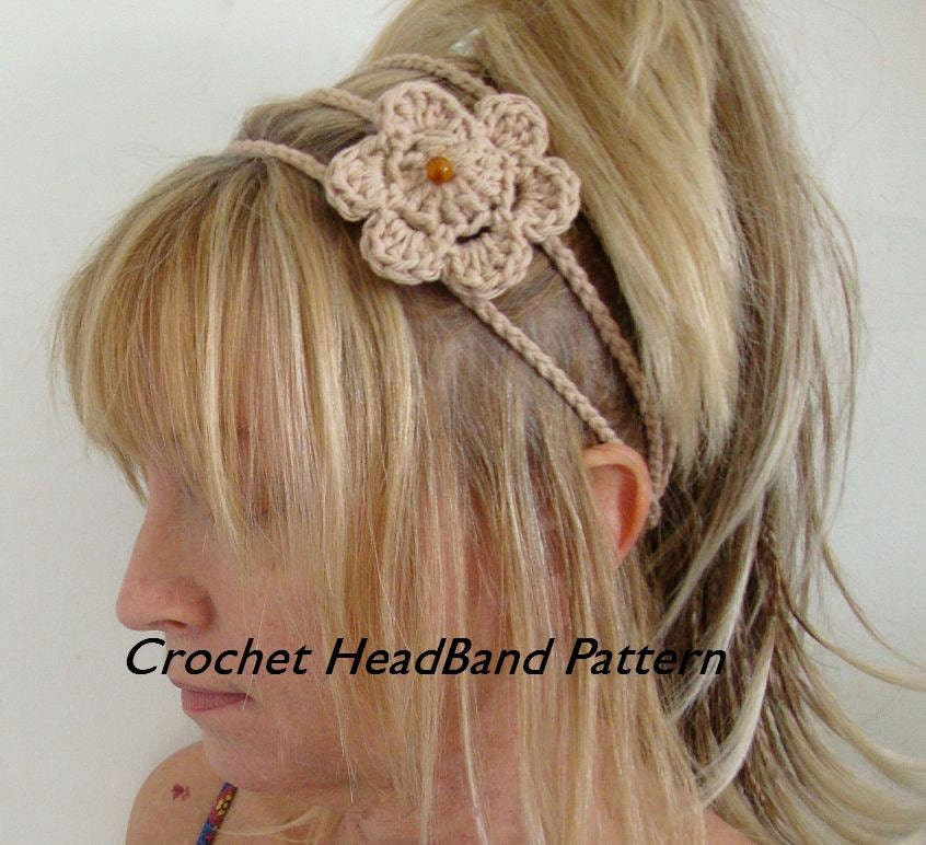 Crochet 3 Strand Headband with Crochet Flower Pattern PDF