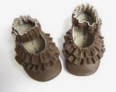 BROWN Leather Mary Jane soft sole shoes - Double Ruffle - size 0 3 6 9 12 18 24 months