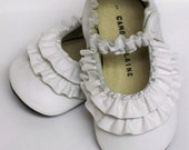 WHITE Leather Double Ruffle Baby Mary Jane soft sole shoes - 0 3 6 9 12 18 24 months