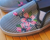 Free Shipping- Hand Painted Canvas Shoes - womens size 6