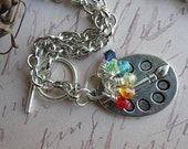 Artist Paint Palette Charm Necklace