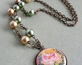 Altered Art Lotus Flower Pendant Necklace