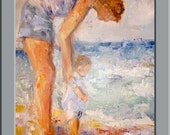 Original Oil Painting Entitled Baby Wading - Done with palette knife in thick impasto
