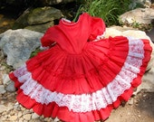 Bright Red and very fun twirl dress.  Sz 3T