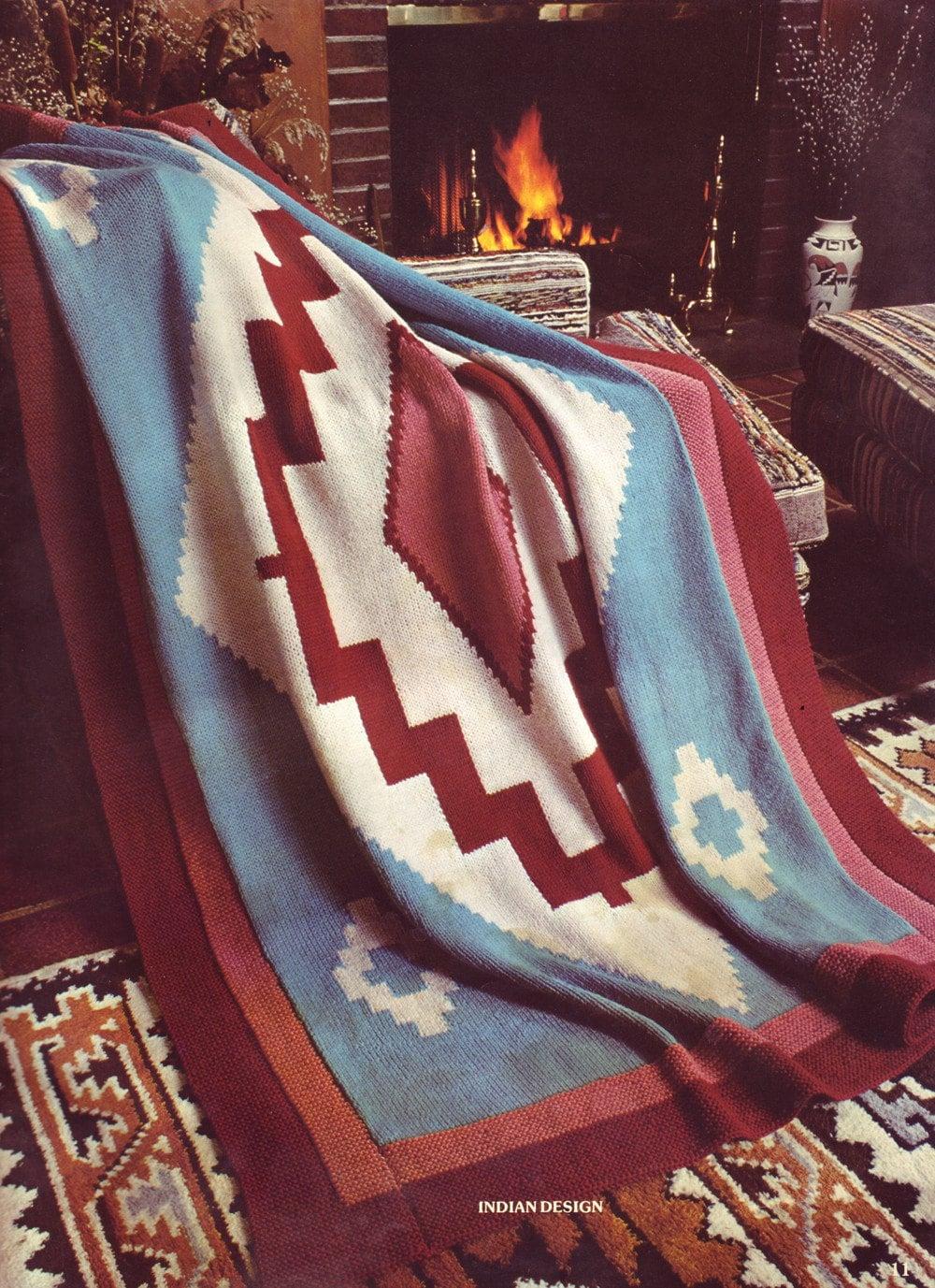 70s Vintage Pattern Navajo Knit Afghan Pdf Pattern By