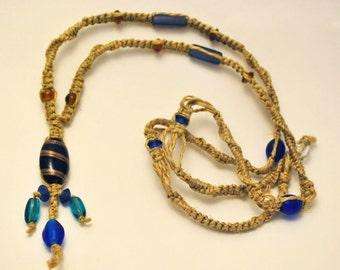 Glass Beads and Hemp necklace - Ocean Dancer