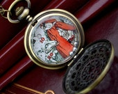 Red and the Wolf - Pocket Watch Style Pendant