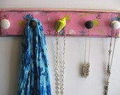 Jewelry Hanger 1 Of A Kind Beachy Chic Necklace Rack Hand Painted in Tropical Colors