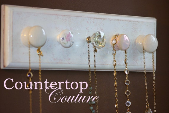 Pretty Hand Painted Shabby Chic Style...with a touch of pink...1 of a kind Necklace, Christening Gown, Jewelry Wall Hanger Rack